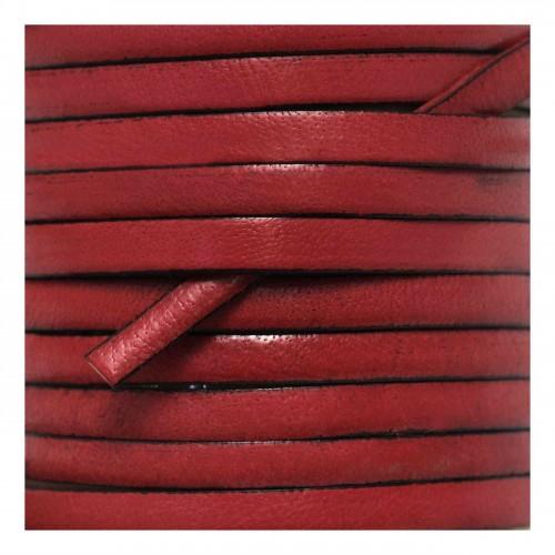 Δερμάτινο κορδόνι πλακέ 5mm κόκκινο - ανά μέτρο