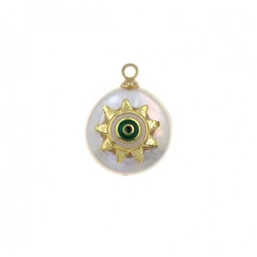 Μενταγιόν μαργαριτάρι και ήλιο με άσπρο πράσινο σμάλτο - τιμή ανά τεμάχιο