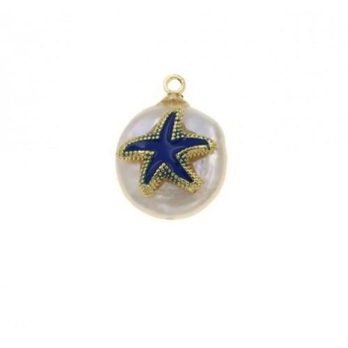 Μενταγιόν μαργαριτάρι και αστερίας με μπλε σμάλτο - τιμή ανά τεμάχιο