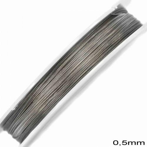 Ατσαλόσυρμα πλαστικοποιημένο 0.50mm σε ασημί χρώμα τιμή ανα καρούλι 100μέτρα