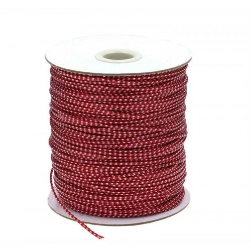 Κορδόνι φίδι μαλακό πολυεστερικό δίχρωμο 1mm κόκκινο λευκό. Τιμή ανά καρούλι 150 μέτρα