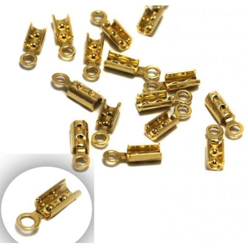 Ασημένια τελειώματα-σφιχτηράκι για κορδόνια ,βρχ κτλ 2.5mm από επιχρυσωμενο ασήμι 925-ανά τεμάχιο(ένα κομμάτι)