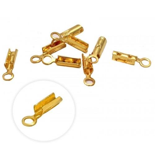 Ασημένια  τελειώματα-σφιχτηρακια για κορδόνια ,βρχ κτλ 1,1mm από επιχρυσωμενο ασήμι     Η τιμή είναι ανα τεμάχιο(ένα κομματι)