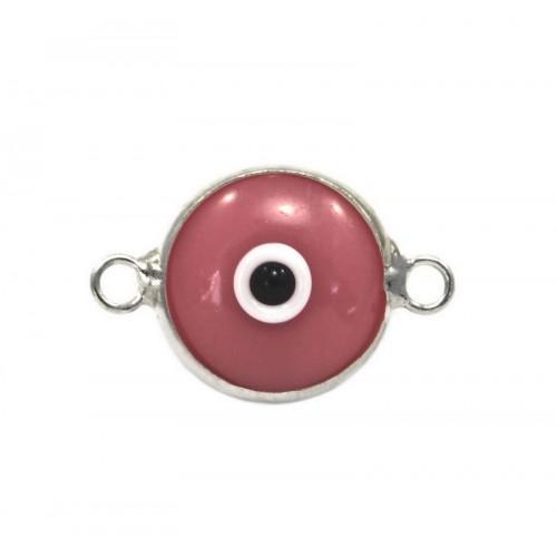 Μάτι murano με 2 κρικάκια από ασήμι 925 σε ροζ χρώμα-ανα τεμάχιο