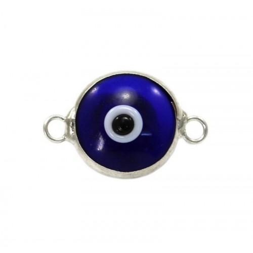 Μάτι murano με 2 κρικάκια από ασήμι 925 σε μπλε σκούρο χρώμα-ανα τεμάχιο