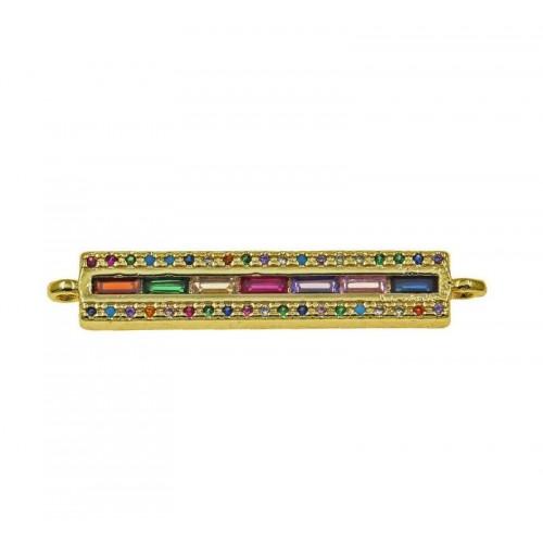 Mεταλλική μπάρα 6x32mm με 2 κρικάκια επίχρυσο με χρωματιστά ζιργκόν-ανα τεμάχιο